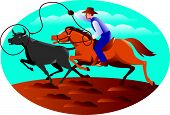 pic of bull-riding  - Illustration of a cowboy riding horse with lasso roping a bull cow set inside oval with blue sky and clouds in the background done in retro style - JPG