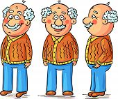 pic of grandfather  - Cartoon grandfather character at different angles - JPG