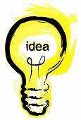 pic of light-bulb  - a brush stroke illustration of a lightbulb idea - JPG
