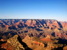 pic of landforms  - The Grand Canyon is a very deep canyon carved by the Colorado River in the state of Arizona in the United States - JPG