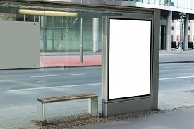 stock photo of suburban city  - Blank Billboard On Bus Stop For Advertising In City