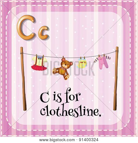 Flashcard letter C is for clothesline