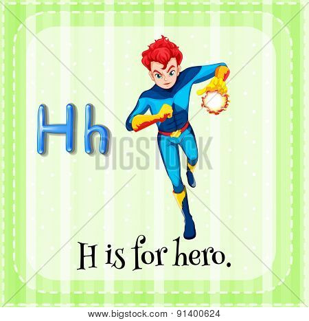 Flashcard letter H is for hero