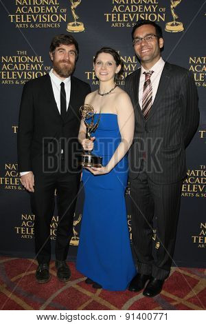 LOS ANGELES - APR 24: Jon Philpot, Angie Dix, Mustafa Bhagat at The 42nd Daytime Creative Arts Emmy Awards Gala at the Universal Hilton Hotel on April 24, 2015 in Los Angeles, California