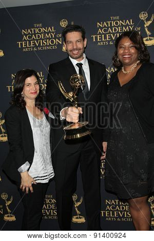 LOS ANGELES - APR 24: Andrea Levin, John Redmann, Anjie Taylor at The 42nd Daytime Creative Arts Emmy Awards Gala at the Universal Hilton Hotel on April 24, 2015 in Los Angeles, California