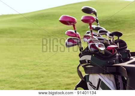 Close up of bag with golf clubs