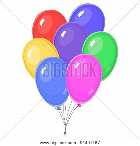 Seven Colorful balloons