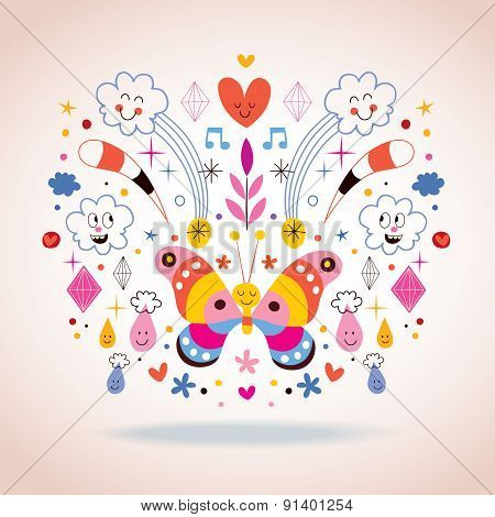Butterfly, clouds, flowers, diamonds, raindrops cartoon nature vector illustration