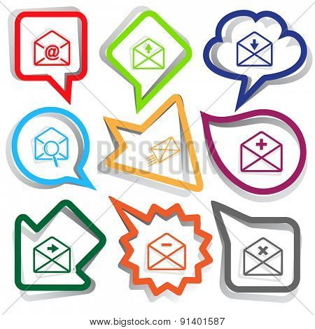 Mail set. Paper stickers. Vector illustration.