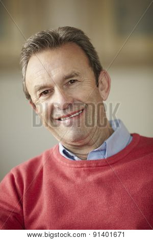 Senior man portrait at home