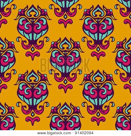 Damask yellow abstract seamless pattern
