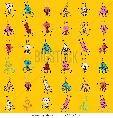 Cute Cartoon Robot Characters Seamless Pattern