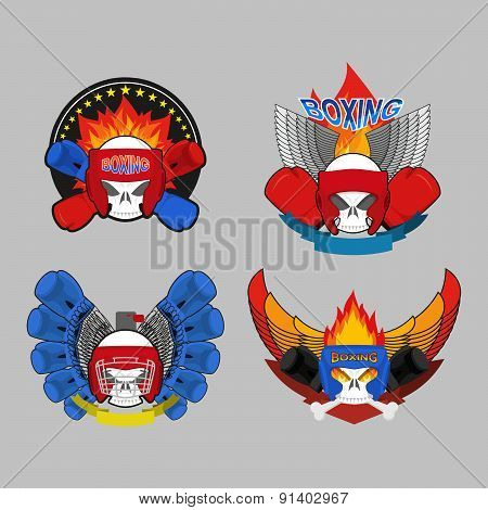 Set boxing emblem. Vector illustration. Boxing gloves in embem.