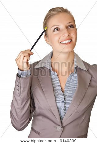 Caucasian blond businesswoman in suit holding calendar scheduler on white isolated background