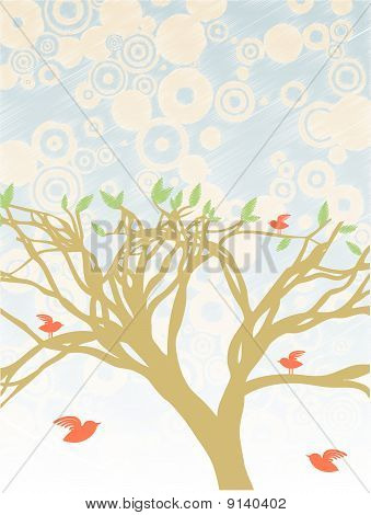Colorful Bright Tree Surrounded By Red Birds Abstract Blue Tan Circle Sky