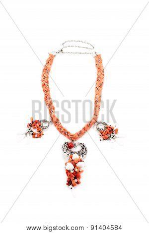 Orange necklace handmade