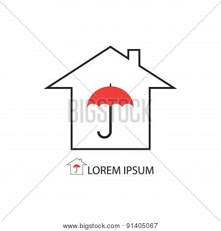 House with red umbrella