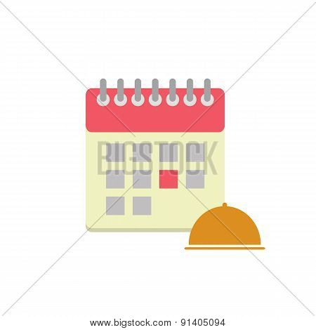 Flat style calendar icon with cloche