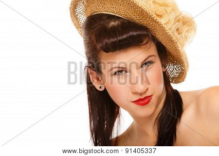 Summer Girl In Hat Retro Styling