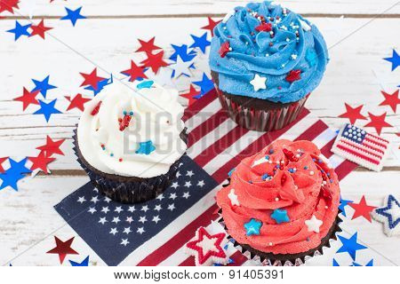 Patriotic Chocolate Cupcakes