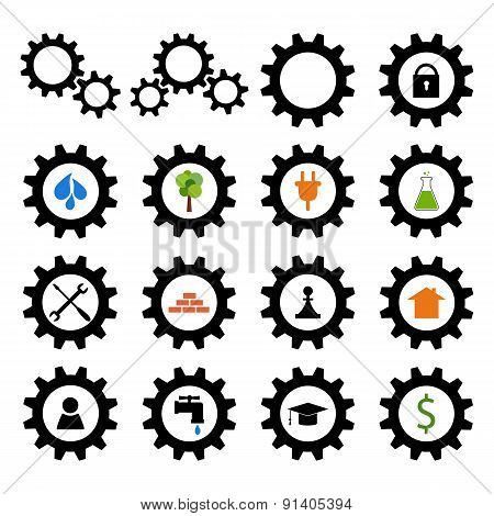 Set of gear wheel logos
