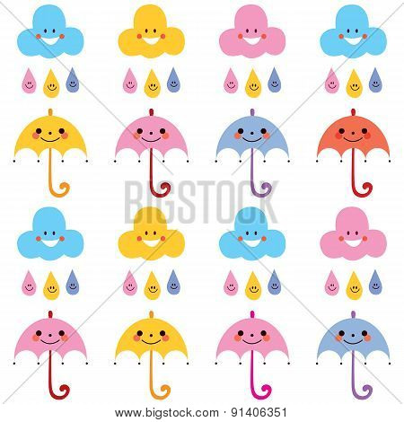 cute umbrellas raindrops clouds characters pattern swatch
