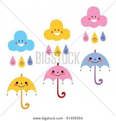 cute umbrellas raindrops clouds characters vector illustration
