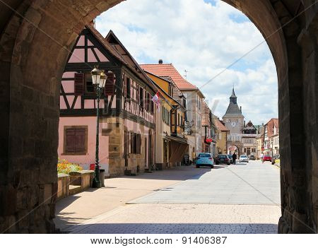Central Square In Rosheim, Alsace, France