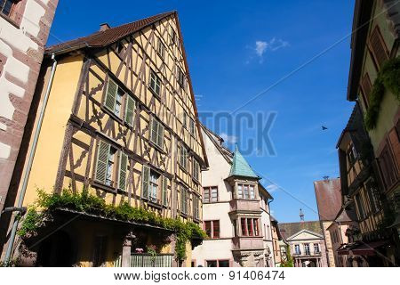 Half-timbered Houses In Riquewihr, Alsace Region, France