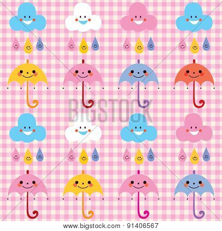 umbrellas raindrops clouds cute characters pattern swatch