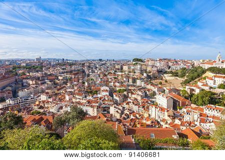 Lisbon Rooftop From Sao Jorge Castle Viewpoint  In Portugal