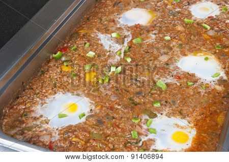 Minced Beef With Fried Egg At An Oriental Restaurant Buffet