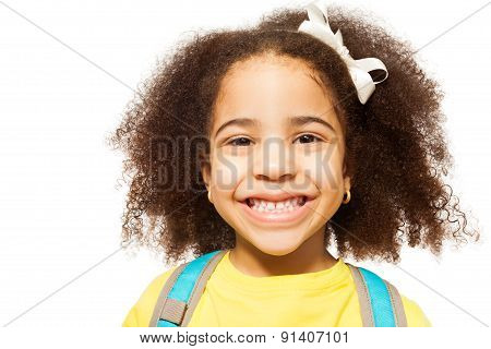 Close-up view of African girl in yellow T-shirt