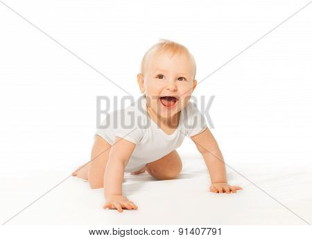 Laughing cute baby wears crawl with happy smile