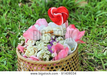 Candy Valentines Hearts And Artificial Flowers
