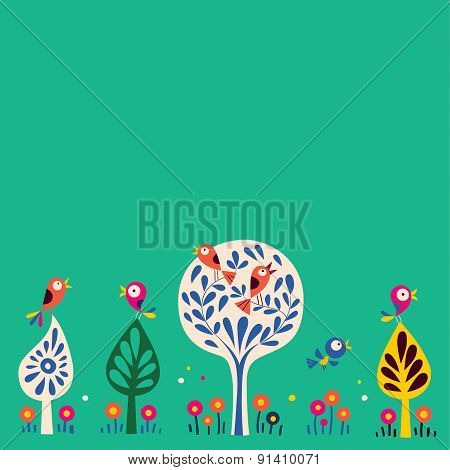 birds in the trees nature illustration background