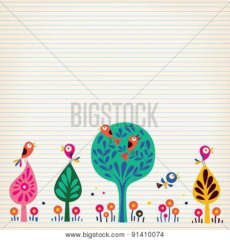 birds in the trees nature illustration lined paper background