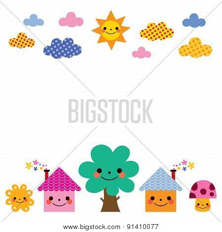 cute houses, tree, sun, mushroom, clouds kids background illustration