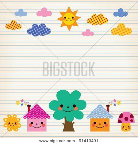 cute houses, tree, sun, mushroom, clouds kids lined paper background