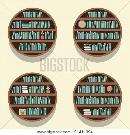 Set Of 4 Round Bookshelves On Wall.