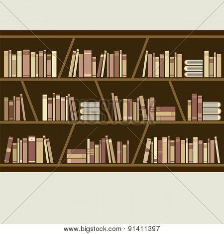 Flat Design Brown Bookshelf.