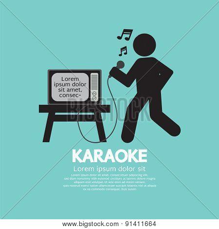 Karaoke Singer Black Symbol.