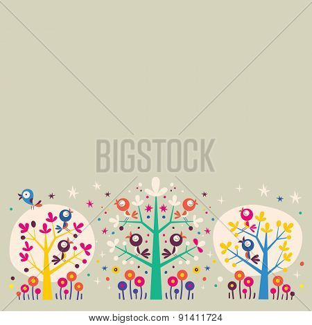 birds in the trees nature illustration background design element
