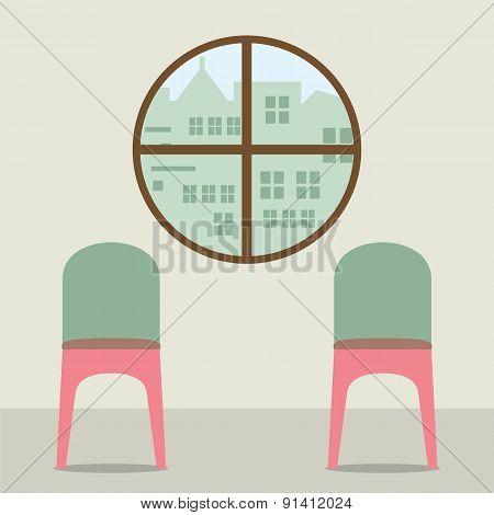 Two Chairs Under Round Window.