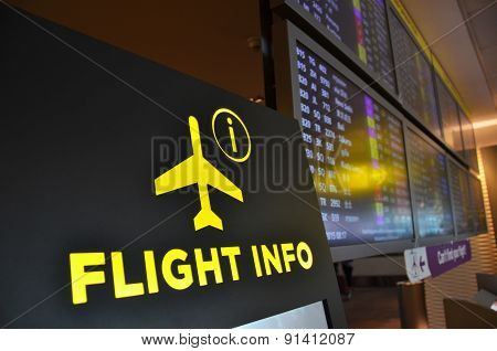 Flight Information Board In Changi Airport Singapore