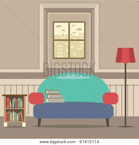 Empty Couch With Bookcase In Front Of Window.