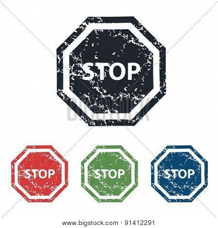 STOP sign grunge icon set