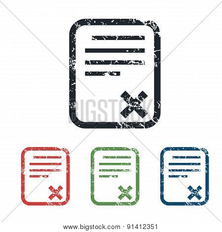 Declined document grunge icon set