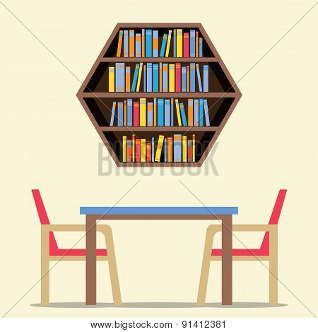 Chairs And Table With Hexagon Bookshelf On Wall.