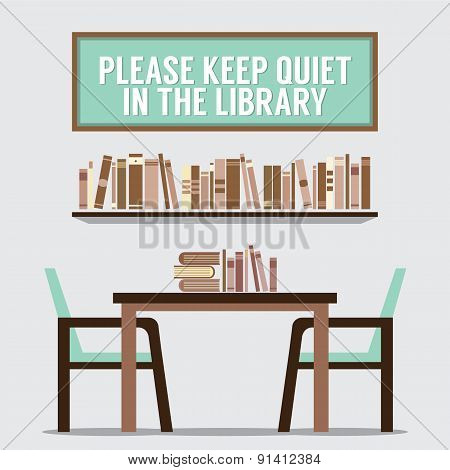 Reading Seats In Front Of A Bookcase With Forbidden Poster.